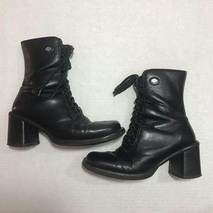 Harley Davidson Black Leather Lace Up Moto Boots